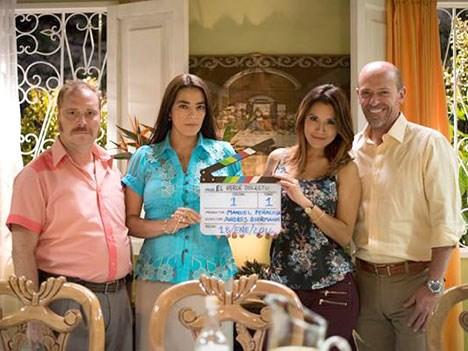 Cristian Tappan, Sandra Reyes, Catherine Escobar y Diego Trujillo en Cuando vivas conmigo. Foto: prensario.net